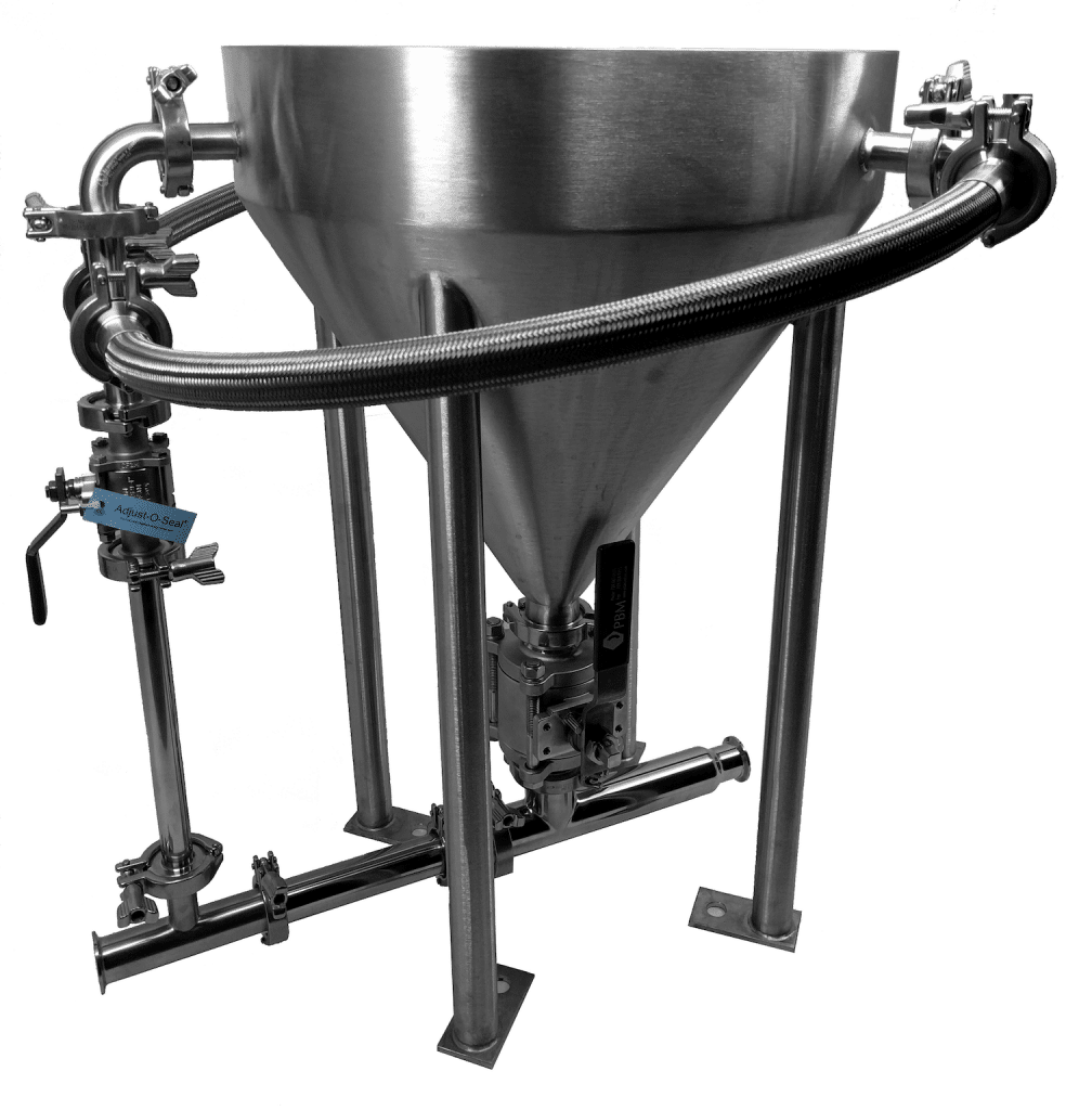 A highly polished feed hopper above a fully sanitary Fox slurry eductor