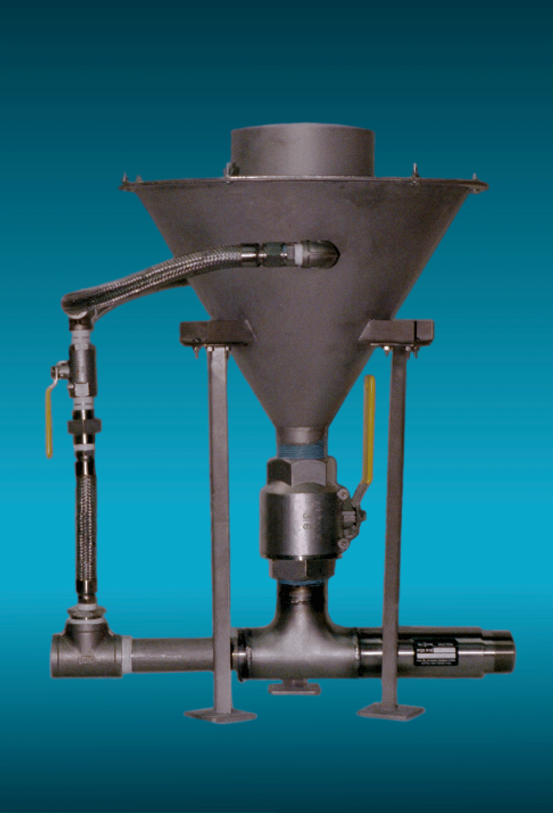A standard industrial slurry eductor with washdown hopper for chemical, wastewater and industrial applications