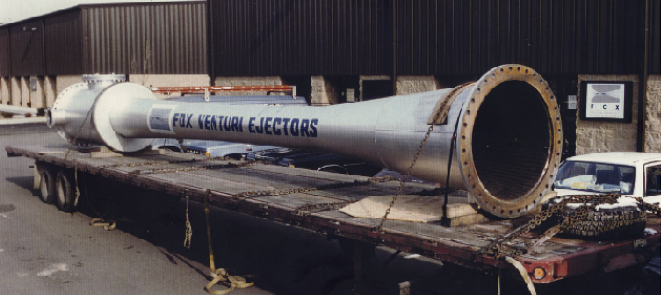 "This 39-foot-long air ejector has 42"" flanges and was used to evacuate a high altitude test chamber."